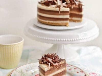 tarta de tres chocolates sin nata